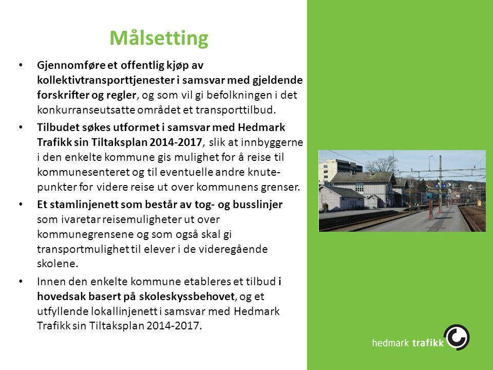 Målsetting Gjennomføre et offentlig kjøp av kollektivtransporttjenester i samsvar med gjeldende forskrifter og regler, og som vil gi befolkningen i de