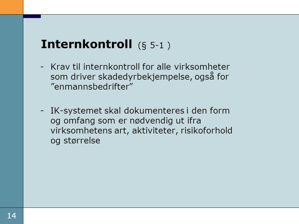 """14 Internkontroll (§ 5-1 ) -Krav til internkontroll for alle virksomheter som driver skadedyrbekjempelse, også for """"enmannsbedrifter"""" -IK-systemet ska"""