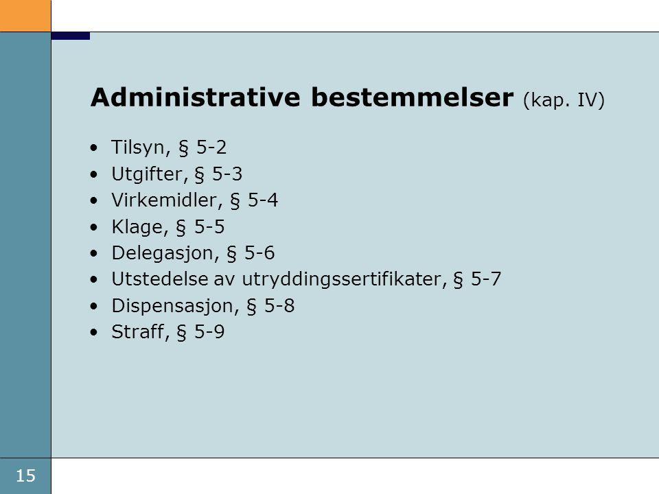 15 Administrative bestemmelser (kap. IV) Tilsyn, § 5-2 Utgifter, § 5-3 Virkemidler, § 5-4 Klage, § 5-5 Delegasjon, § 5-6 Utstedelse av utryddingsserti
