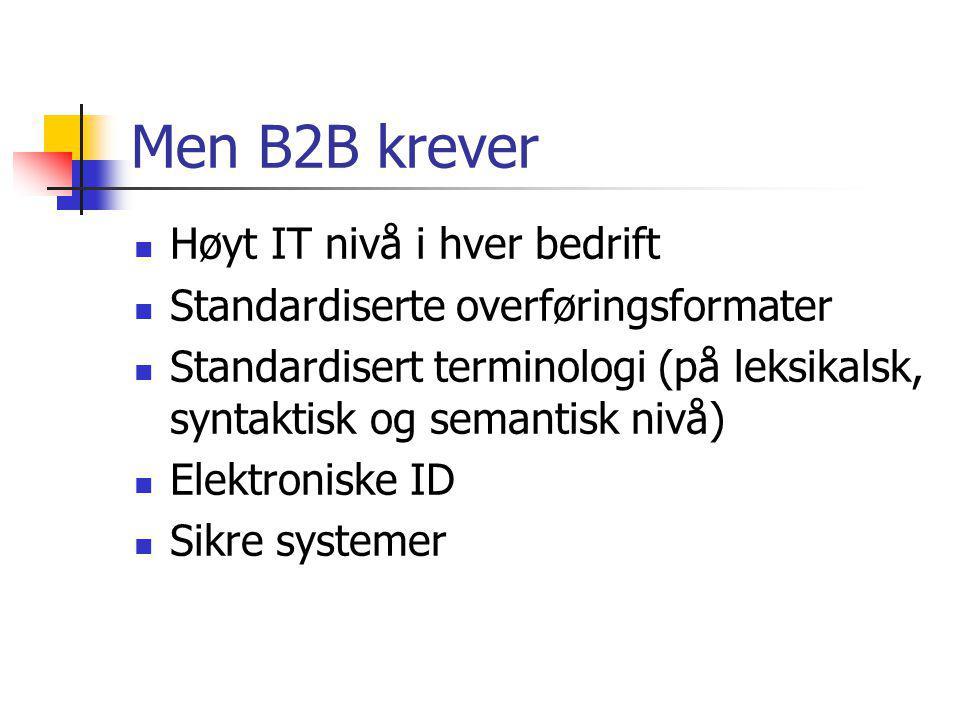 Men B2B krever Høyt IT nivå i hver bedrift Standardiserte overføringsformater Standardisert terminologi (på leksikalsk, syntaktisk og semantisk nivå) Elektroniske ID Sikre systemer