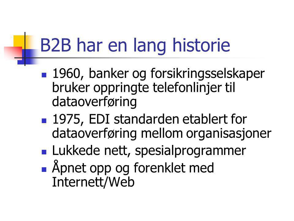 B2B har en lang historie 1960, banker og forsikringsselskaper bruker oppringte telefonlinjer til dataoverføring 1975, EDI standarden etablert for dataoverføring mellom organisasjoner Lukkede nett, spesialprogrammer Åpnet opp og forenklet med Internett/Web