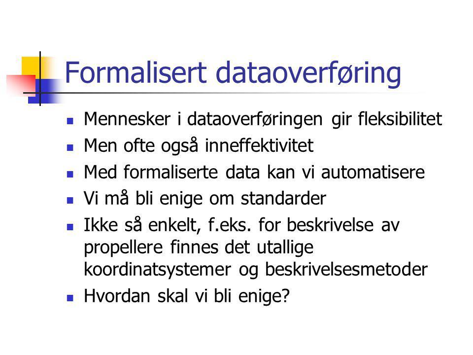 Formalisert dataoverføring Mennesker i dataoverføringen gir fleksibilitet Men ofte også inneffektivitet Med formaliserte data kan vi automatisere Vi må bli enige om standarder Ikke så enkelt, f.eks.