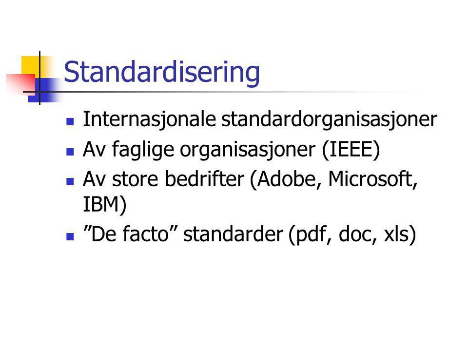 Standardisering Internasjonale standardorganisasjoner Av faglige organisasjoner (IEEE) Av store bedrifter (Adobe, Microsoft, IBM) De facto standarder (pdf, doc, xls)