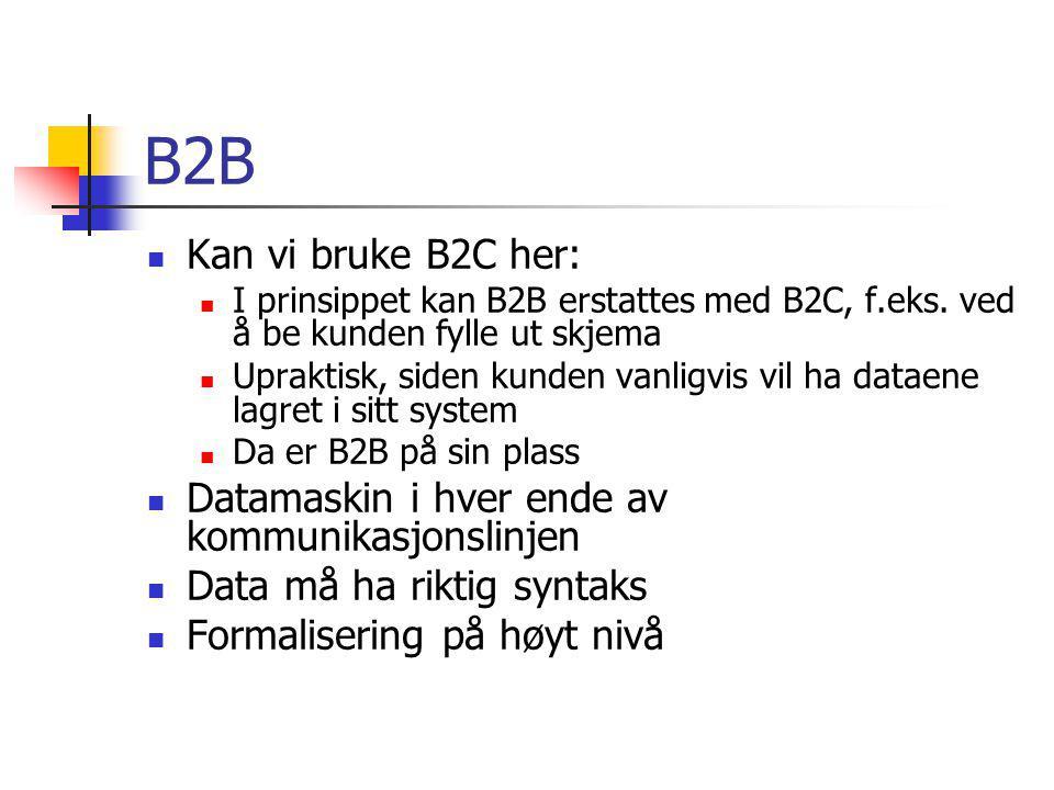 B2B Kan vi bruke B2C her: I prinsippet kan B2B erstattes med B2C, f.eks.