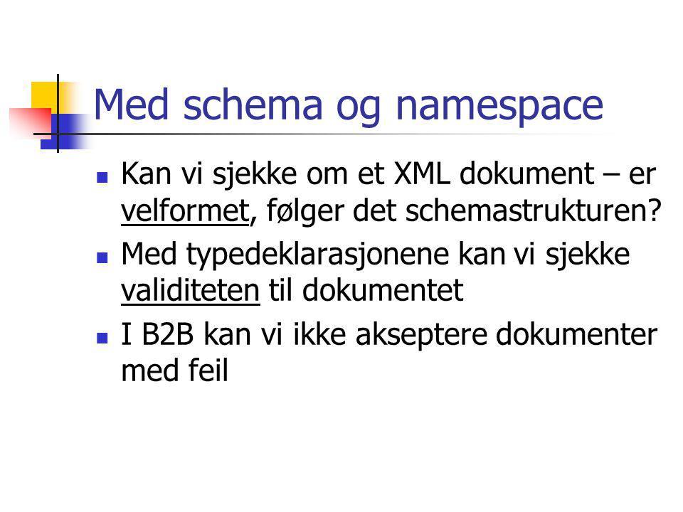 Andre verktøy XPATH, for å navigere i XML dokumenter XSL (eXtensible Stylesheet Language) gir formatteringsinformasjon XSLT hjelper oss å transformere et XML dokument med forskjellige XSL beskrivelser Ideen er at det skal være lett å transformere et XML dokument til forskjellige layout formater: Printer, Web, Wap, osv