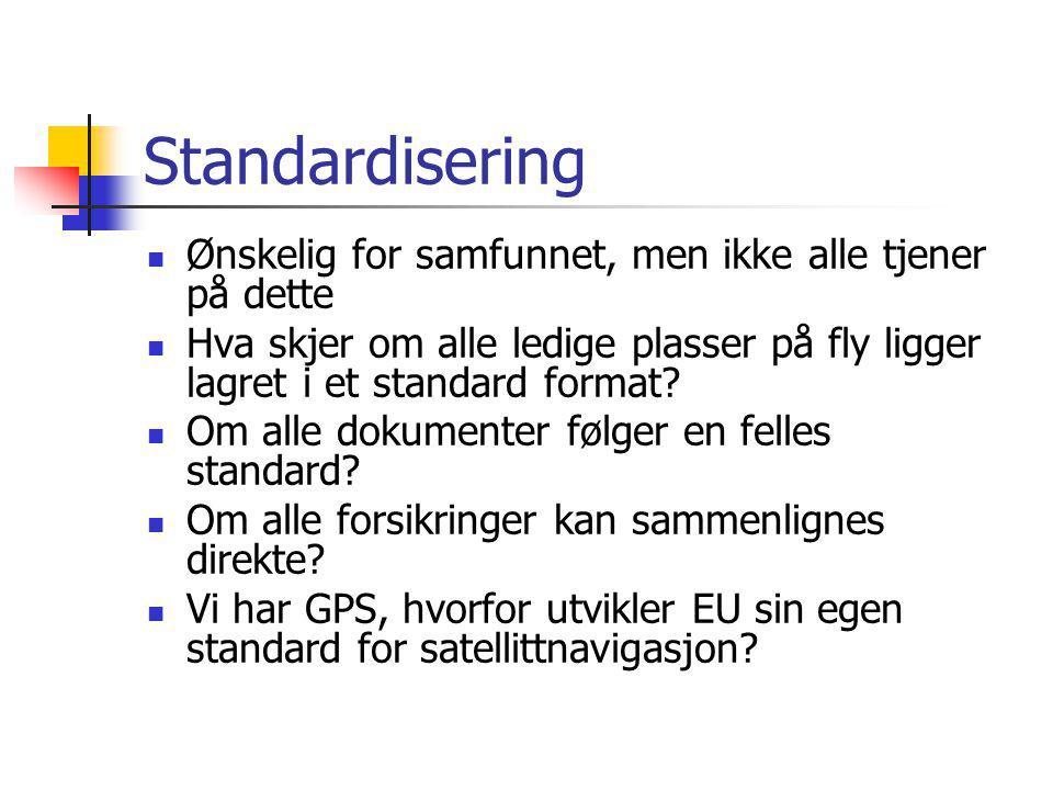 Standardisering Ønskelig for samfunnet, men ikke alle tjener på dette Hva skjer om alle ledige plasser på fly ligger lagret i et standard format? Om a