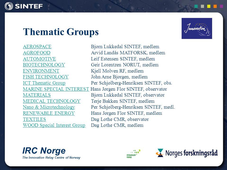 4 Automotive Thematic Group (ATG) Etablert i 1996 Åpen for alle IRC Teknologi for underleverandører til bilindustrien Assistere enkeltbedrifter Tilrettelegge for nettverk (clusters) Arrangere møteplasser Brokerage Events Fagmesser og utstillinger Utveksle profiler (tilbud og etterspørsel) mellom medlemmene