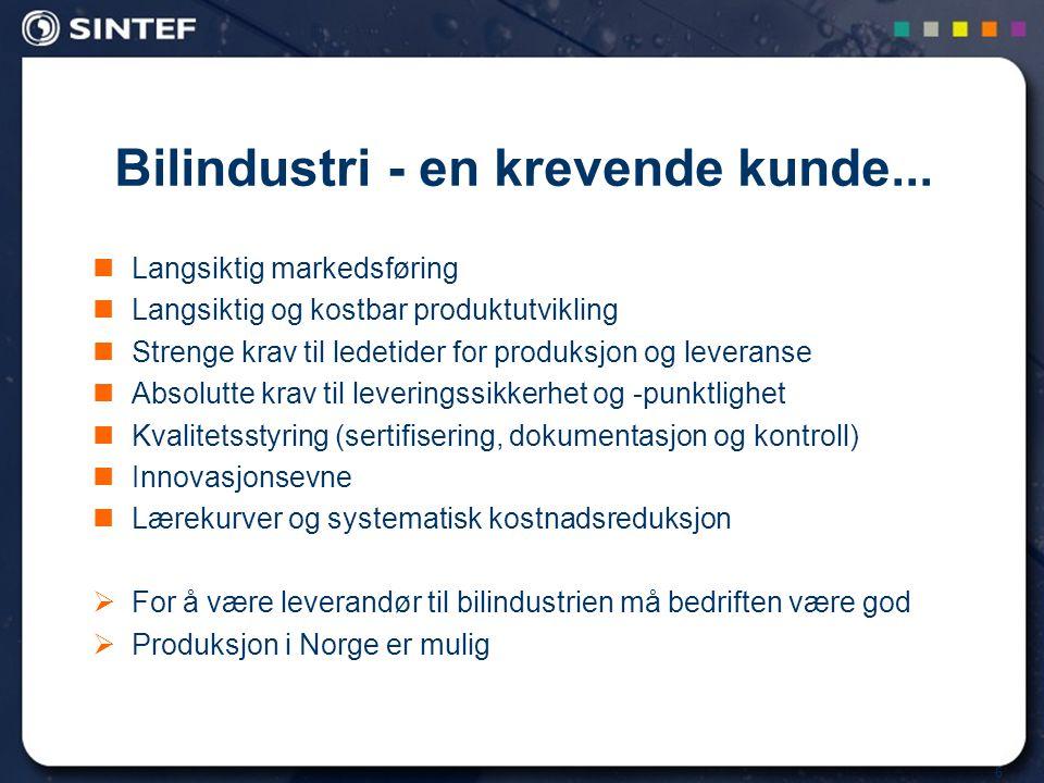 6 Langsiktig markedsføring Langsiktig og kostbar produktutvikling Strenge krav til ledetider for produksjon og leveranse Absolutte krav til leveringssikkerhet og -punktlighet Kvalitetsstyring (sertifisering, dokumentasjon og kontroll) Innovasjonsevne Lærekurver og systematisk kostnadsreduksjon  For å være leverandør til bilindustrien må bedriften være god  Produksjon i Norge er mulig Bilindustri - en krevende kunde...