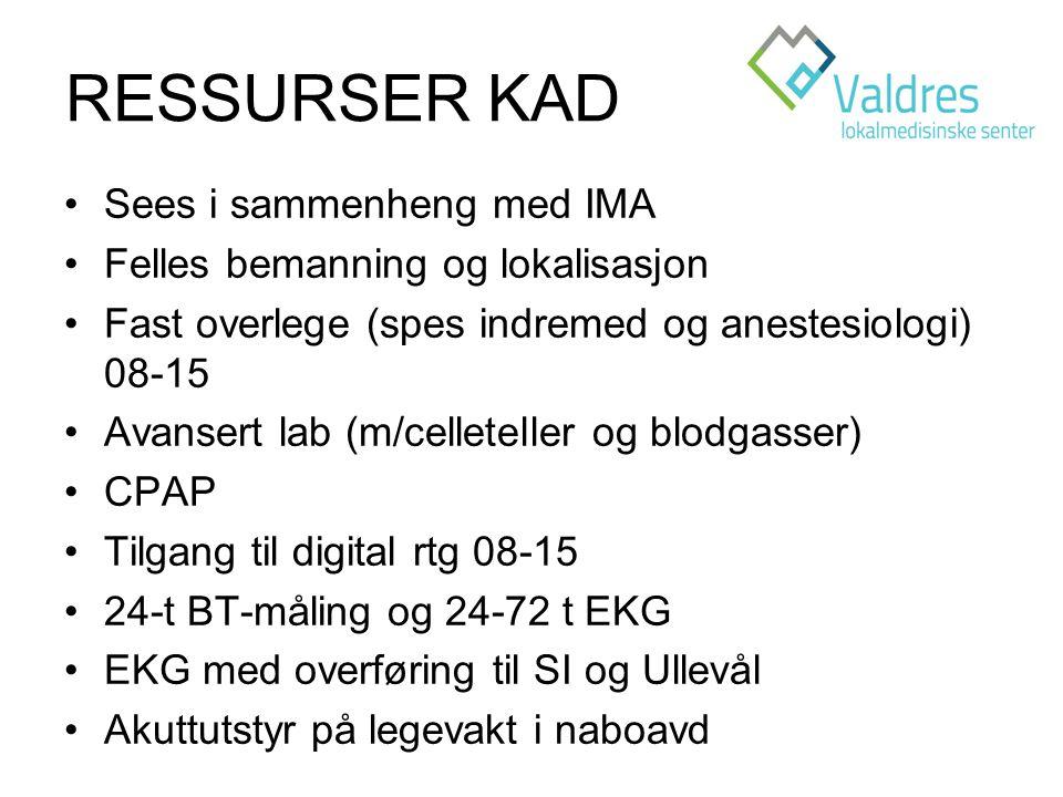 RESSURSER KAD Sees i sammenheng med IMA Felles bemanning og lokalisasjon Fast overlege (spes indremed og anestesiologi) 08-15 Avansert lab (m/celleteller og blodgasser) CPAP Tilgang til digital rtg 08-15 24-t BT-måling og 24-72 t EKG EKG med overføring til SI og Ullevål Akuttutstyr på legevakt i naboavd