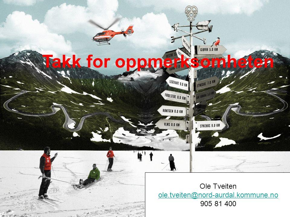 Ole Tveiten ole.tveiten@nord-aurdal.kommune.no 905 81 400 Takk for oppmerksomheten