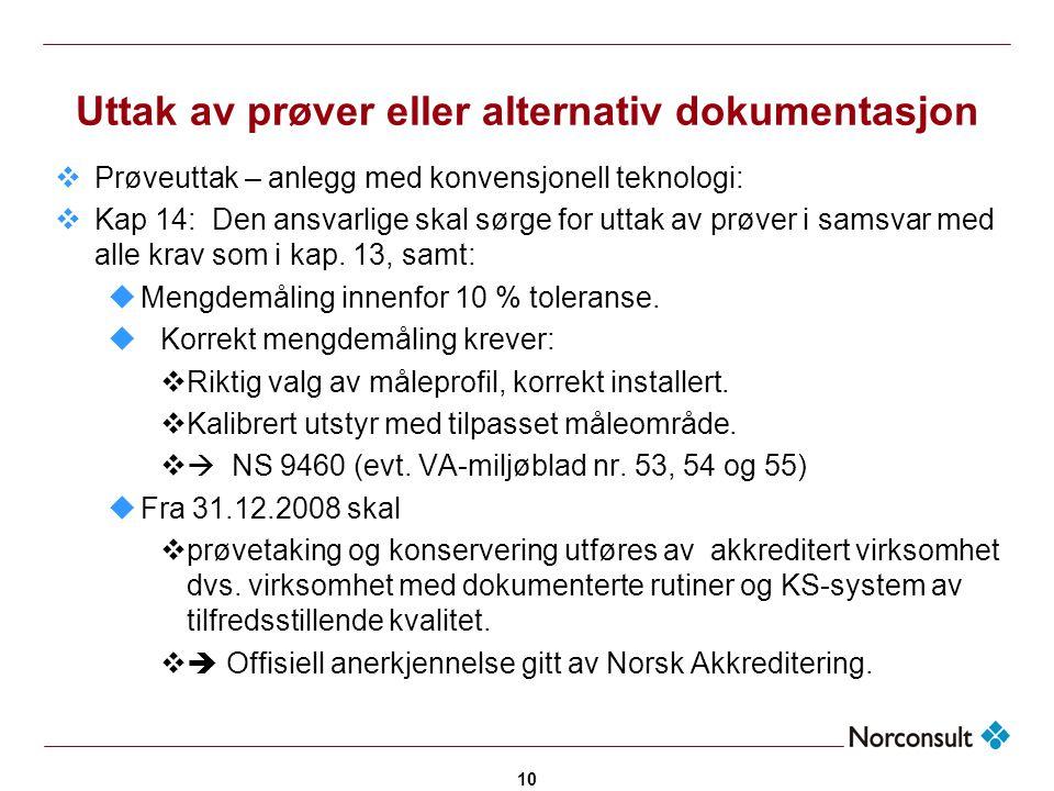 10 Uttak av prøver eller alternativ dokumentasjon  Prøveuttak – anlegg med konvensjonell teknologi:  Kap 14: Den ansvarlige skal sørge for uttak av