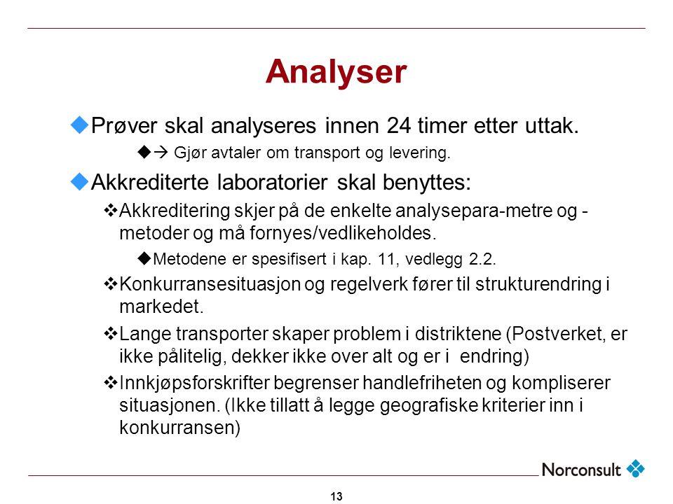 13 Analyser uPrøver skal analyseres innen 24 timer etter uttak. u  Gjør avtaler om transport og levering. uAkkrediterte laboratorier skal benyttes: 