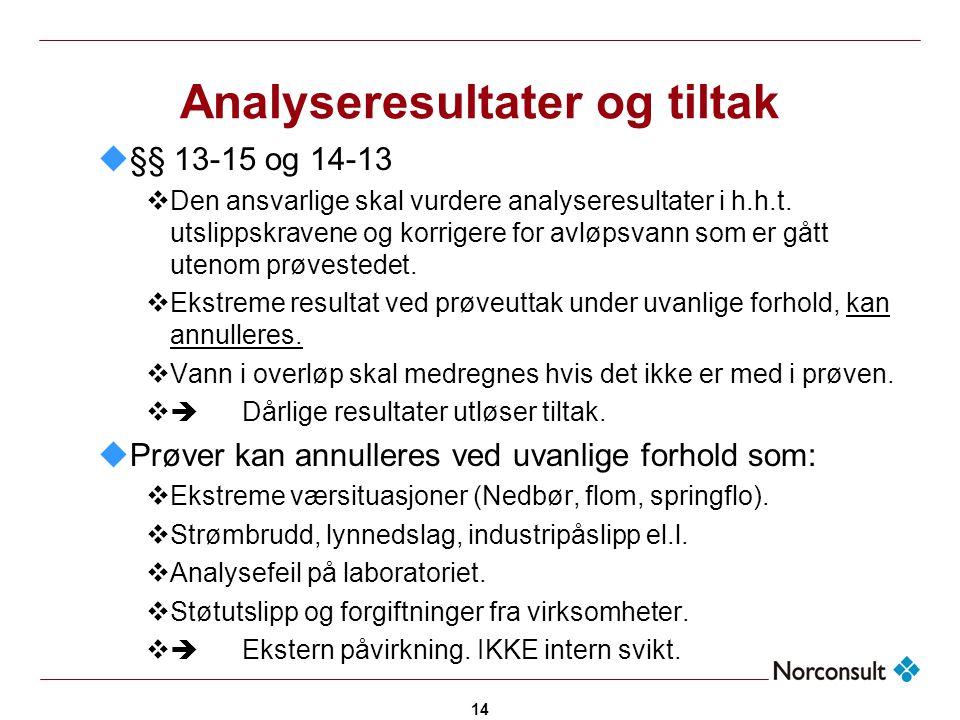 14 Analyseresultater og tiltak u§§ 13-15 og 14-13  Den ansvarlige skal vurdere analyseresultater i h.h.t. utslippskravene og korrigere for avløpsvann