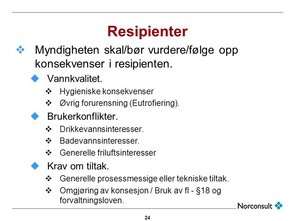 24 Resipienter  Myndigheten skal/bør vurdere/følge opp konsekvenser i resipienten. uVannkvalitet.  Hygieniske konsekvenser  Øvrig forurensning (Eut