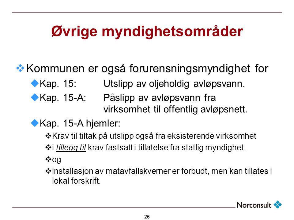 26 Øvrige myndighetsområder  Kommunen er også forurensningsmyndighet for uKap. 15:Utslipp av oljeholdig avløpsvann. uKap. 15-A:Påslipp av avløpsvann