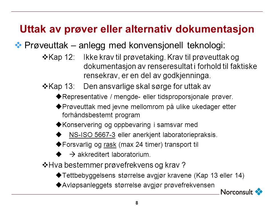 8 Uttak av prøver eller alternativ dokumentasjon  Prøveuttak – anlegg med konvensjonell teknologi:  Kap 12: Ikke krav til prøvetaking. Krav til prøv