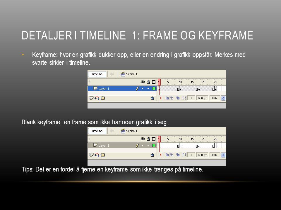 DETALJER I TIMELINE 1: FRAME OG KEYFRAME Keyframe: hvor en grafikk dukker opp, eller en endring i grafikk oppstår.