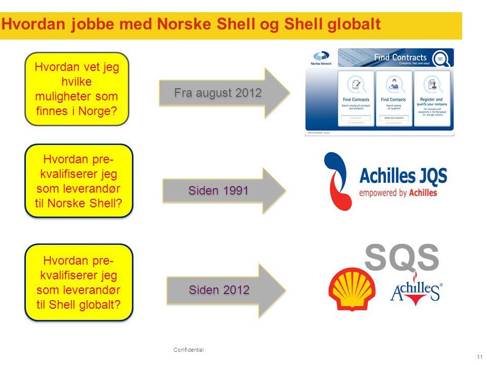 11 Hvordan jobbe med Norske Shell og Shell globalt Confidential Hvordan vet jeg hvilke muligheter som finnes i Norge.