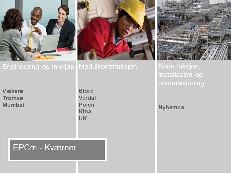 Konstruksjon, installasjon og commissioning Nyhamna Modulkonstruksjon Stord Verdal Polen Kina UK Engineering og innkjøp Vækerø Tromsø Mumbai EPCm - Kværner