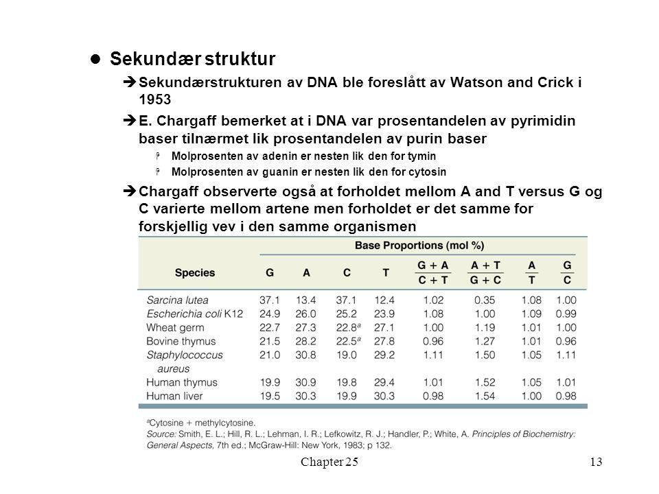 Chapter 2513 Sekundær struktur  Sekundærstrukturen av DNA ble foreslått av Watson and Crick i 1953  E.