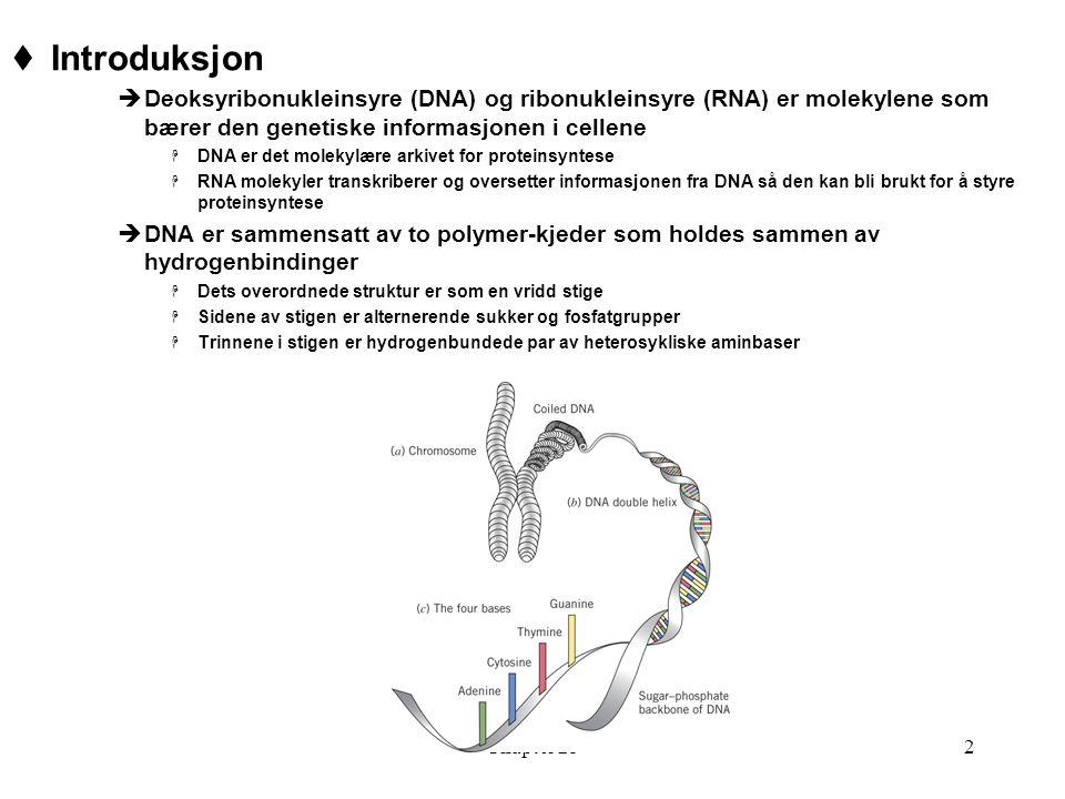 Chapter 252  Introduksjon  Deoksyribonukleinsyre (DNA) og ribonukleinsyre (RNA) er molekylene som bærer den genetiske informasjonen i cellene  DNA er det molekylære arkivet for proteinsyntese  RNA molekyler transkriberer og oversetter informasjonen fra DNA så den kan bli brukt for å styre proteinsyntese  DNA er sammensatt av to polymer-kjeder som holdes sammen av hydrogenbindinger  Dets overordnede struktur er som en vridd stige  Sidene av stigen er alternerende sukker og fosfatgrupper  Trinnene i stigen er hydrogenbundede par av heterosykliske aminbaser