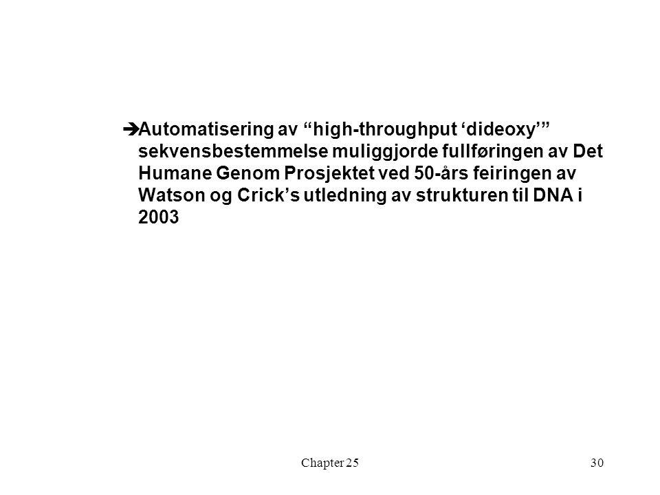 Chapter 2530  Automatisering av high-throughput 'dideoxy' sekvensbestemmelse muliggjorde fullføringen av Det Humane Genom Prosjektet ved 50-års feiringen av Watson og Crick's utledning av strukturen til DNA i 2003