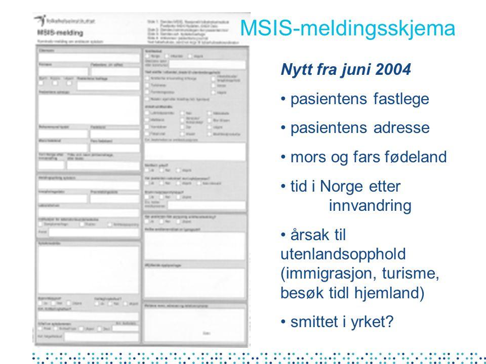 Nytt fra juni 2004 pasientens fastlege pasientens adresse mors og fars fødeland tid i Norge etter innvandring årsak til utenlandsopphold (immigrasjon, turisme, besøk tidl hjemland) smittet i yrket.