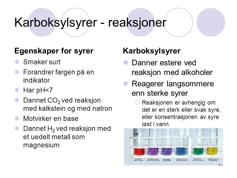 Karboksylsyrer - reaksjoner Egenskaper for syrer Smaker surt Forandrer fargen på en indikator Har pH<7 Dannet CO 2 ved reaksjon med kalkstein og med n