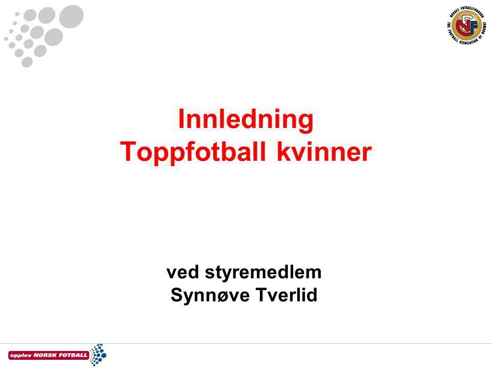 Innledning Toppfotball kvinner ved styremedlem Synnøve Tverlid