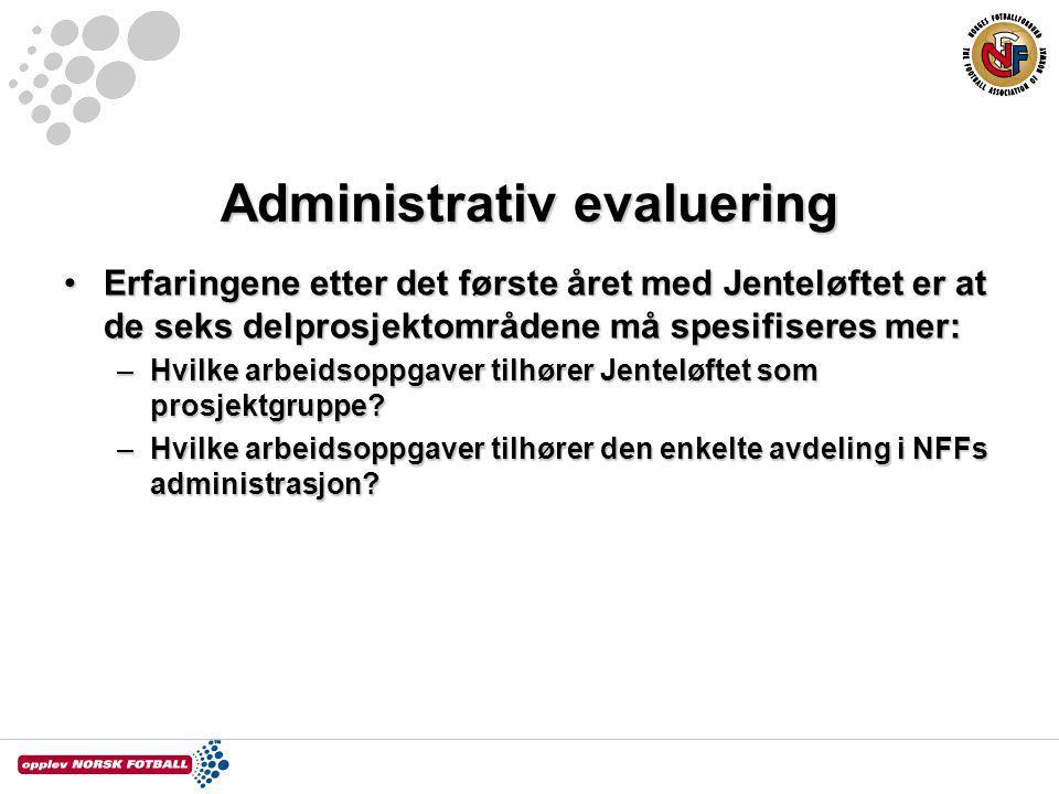 Administrativ evaluering Erfaringene etter det første året med Jenteløftet er at de seks delprosjektområdene må spesifiseres mer:Erfaringene etter det