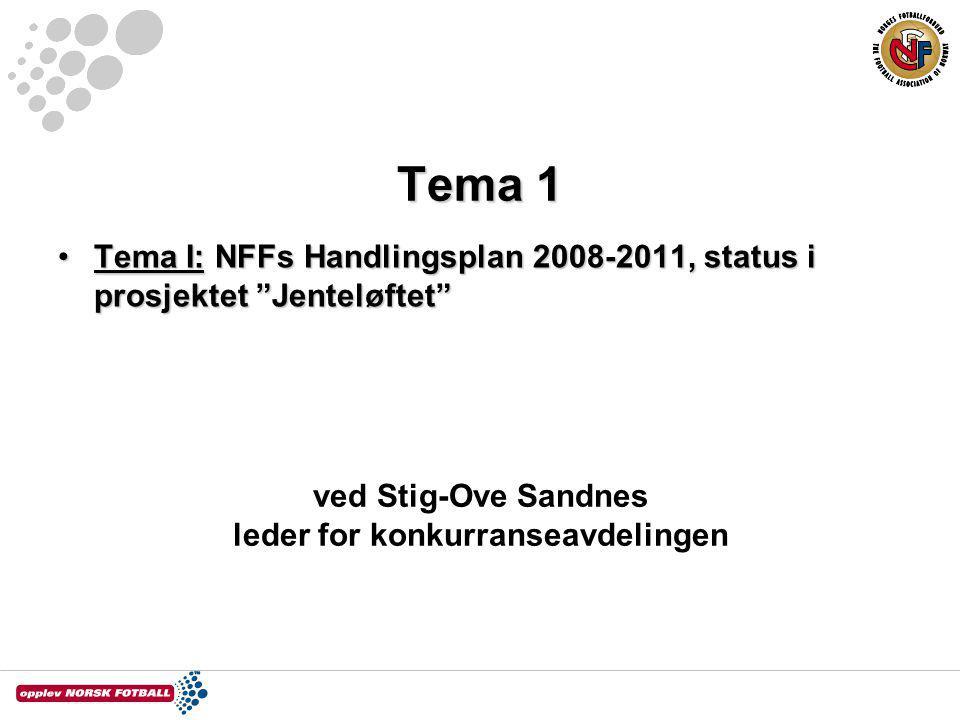 "Tema 1 Tema I: NFFs Handlingsplan 2008-2011, status i prosjektet ""Jenteløftet""Tema I: NFFs Handlingsplan 2008-2011, status i prosjektet ""Jenteløftet"""