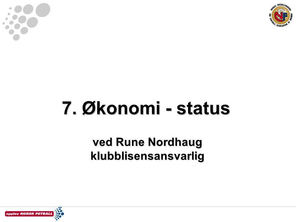 7. Økonomi - status ved Rune Nordhaug klubblisensansvarlig