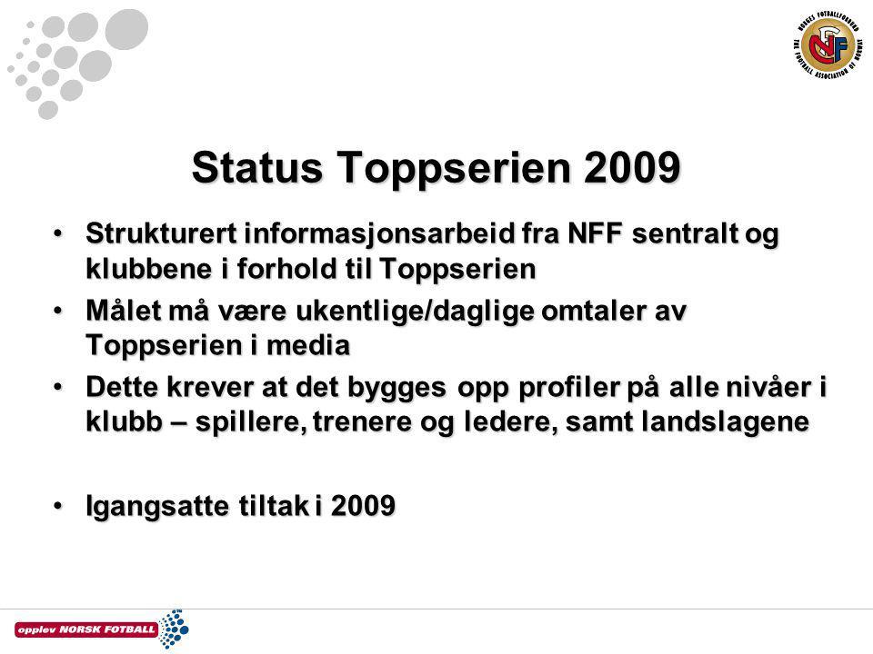 Status Toppserien 2009 Strukturert informasjonsarbeid fra NFF sentralt og klubbene i forhold til ToppserienStrukturert informasjonsarbeid fra NFF sent