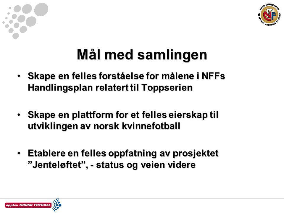 Mål med samlingen Skape en felles forståelse for målene i NFFs Handlingsplan relatert til ToppserienSkape en felles forståelse for målene i NFFs Handl