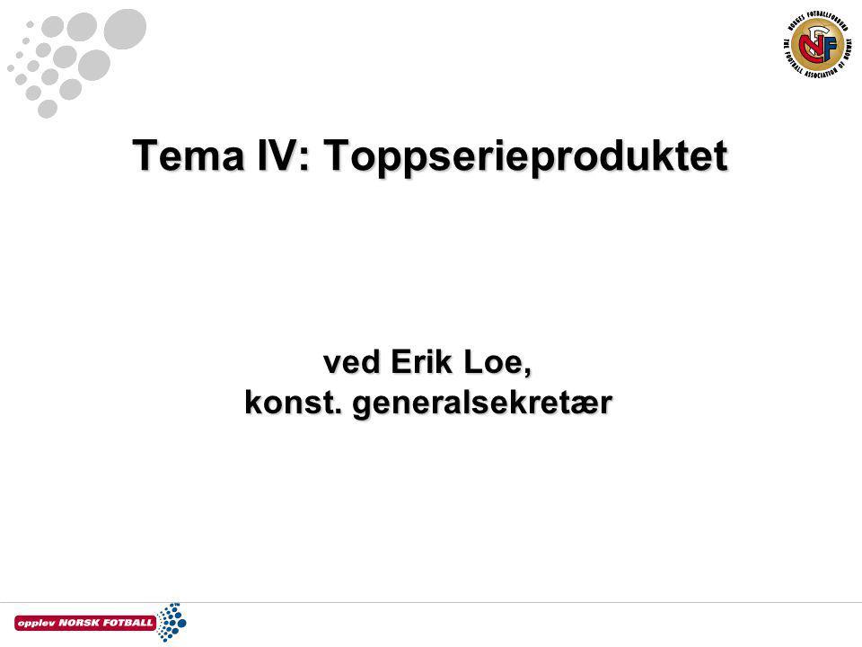 Tema IV: Toppserieproduktet ved Erik Loe, konst. generalsekretær