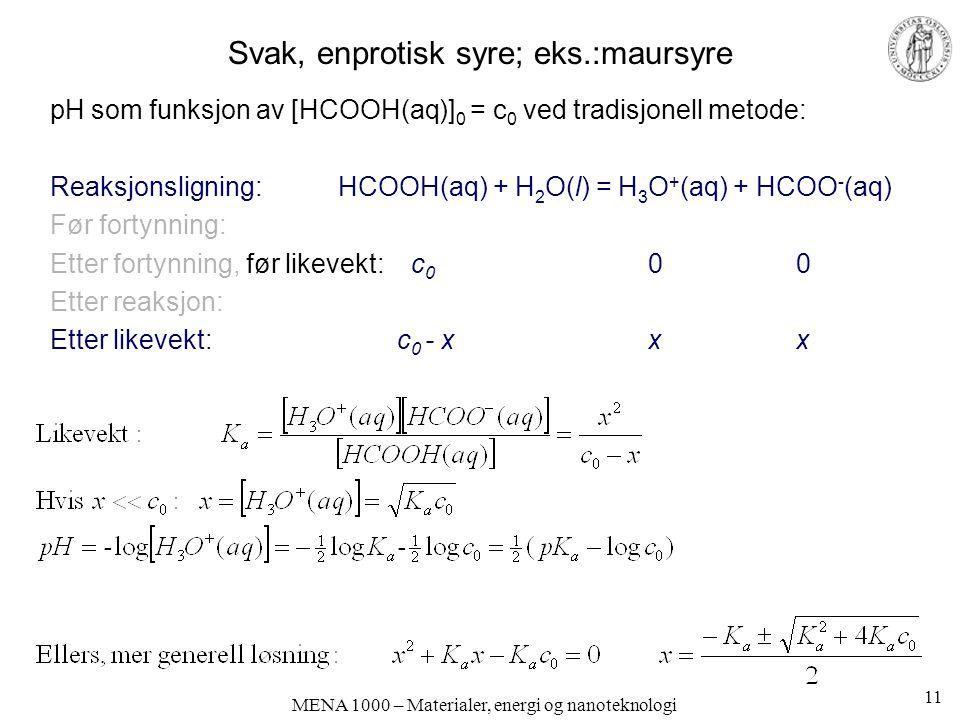 MENA 1000 – Materialer, energi og nanoteknologi Svak, enprotisk syre; eks.:maursyre pH som funksjon av [HCOOH(aq)] 0 = c 0 ved tradisjonell metode: Reaksjonsligning:HCOOH(aq) + H 2 O(l) = H 3 O + (aq) + HCOO - (aq) Før fortynning: Etter fortynning, før likevekt: c 0 0 0 Etter reaksjon: Etter likevekt: c 0 - x x x 11