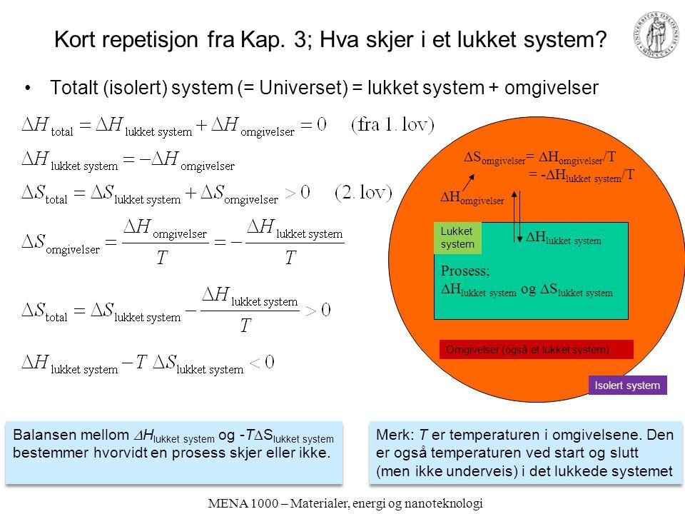 MENA 1000 – Materialer, energi og nanoteknologi Oppsummering Kapittel 6 Et mål med kapittelet har vært å gjøre seg kjent med –Viktige typer kjemiske reaksjoner og likevekter (syre-base, oppløsning- utfelling, kompleksering, red-oks, elektrokjemi) –Beregninger av konsentrasjoner i kjemiske likevektssystemer –Måter å fremstille data for likevekter på Konsentrasjoner i kjemiske likevekter kan beregnes ved å kombinere –Likevektsonstant(er) –Massebalanse(r) –Elektronøytralitet Alternativ (tradisjonell) metodikk i beregninger av bl.a.