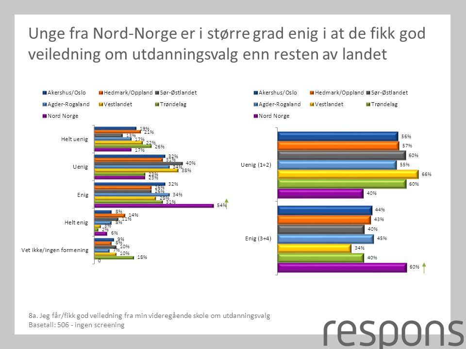 Unge fra Nord-Norge er i større grad enig i at de fikk god veiledning om utdanningsvalg enn resten av landet 8a.