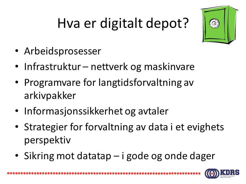 Hva er digitalt depot? Arbeidsprosesser Infrastruktur – nettverk og maskinvare Programvare for langtidsforvaltning av arkivpakker Informasjonssikkerhe