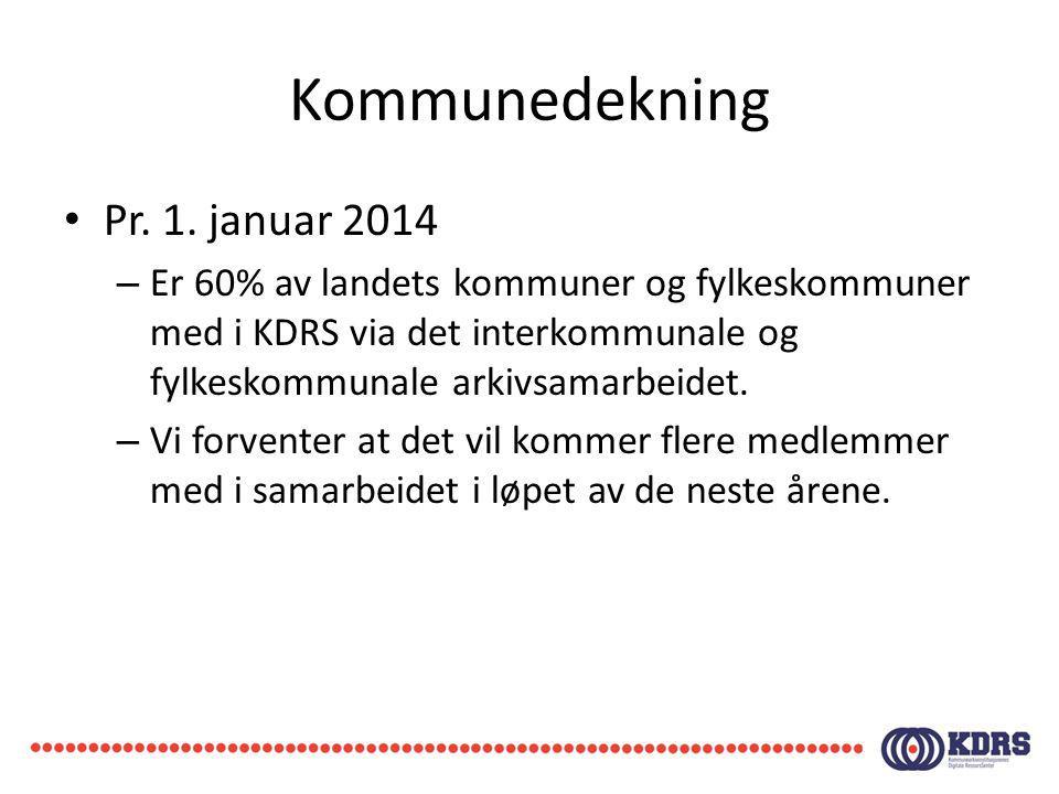 Kommunedekning Pr. 1. januar 2014 – Er 60% av landets kommuner og fylkeskommuner med i KDRS via det interkommunale og fylkeskommunale arkivsamarbeidet