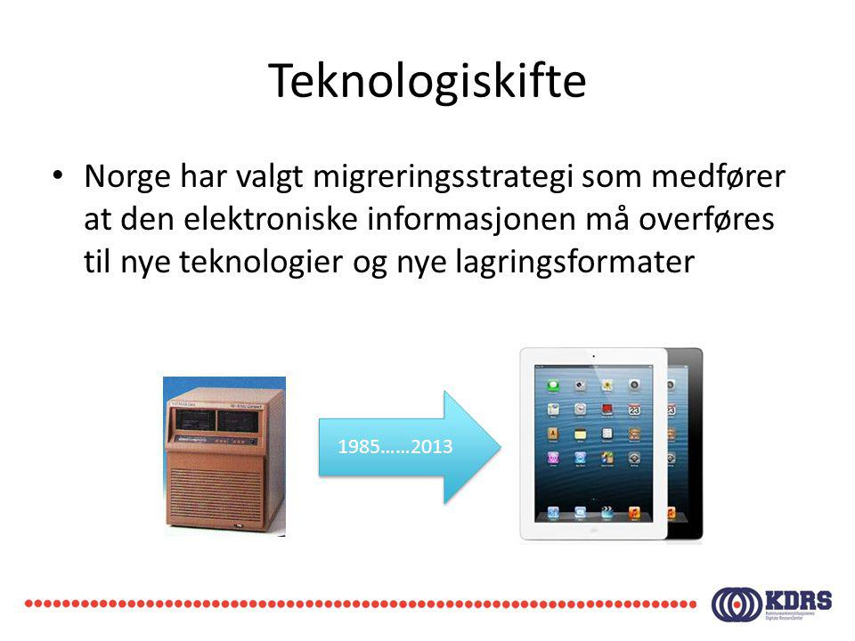 Teknologiskifte Norge har valgt migreringsstrategi som medfører at den elektroniske informasjonen må overføres til nye teknologier og nye lagringsform