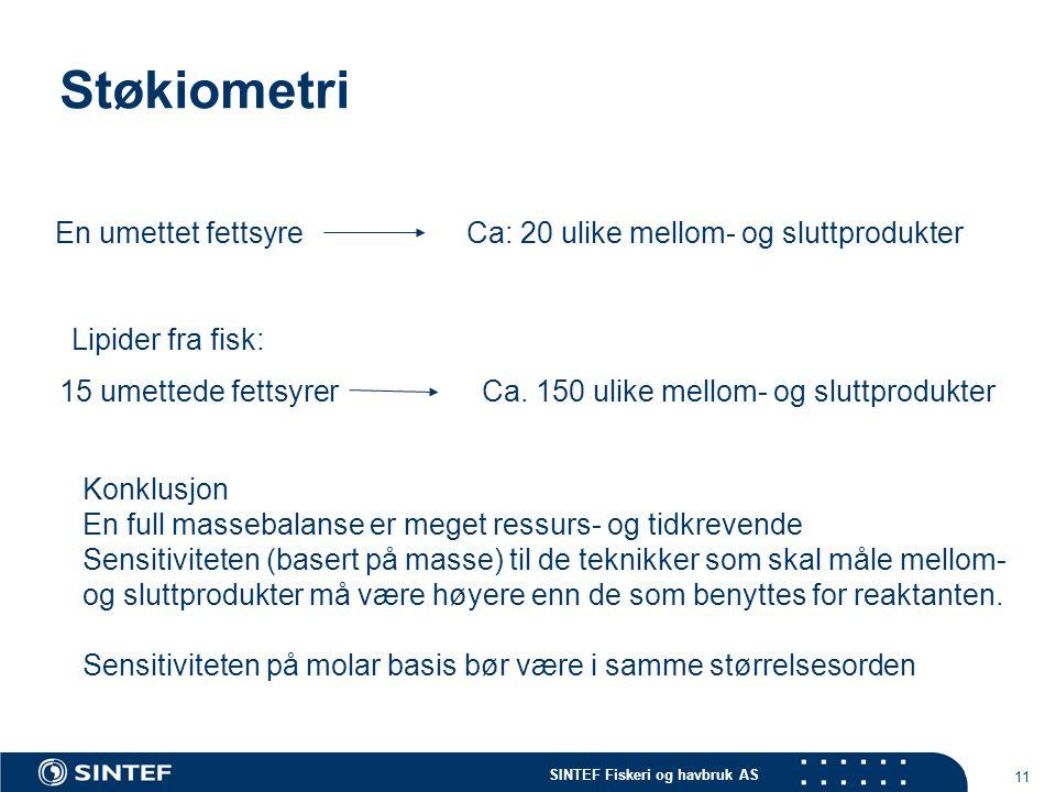 SINTEF Fiskeri og havbruk AS 11 Støkiometri En umettet fettsyreCa: 20 ulike mellom- og sluttprodukter 15 umettede fettsyrerCa.