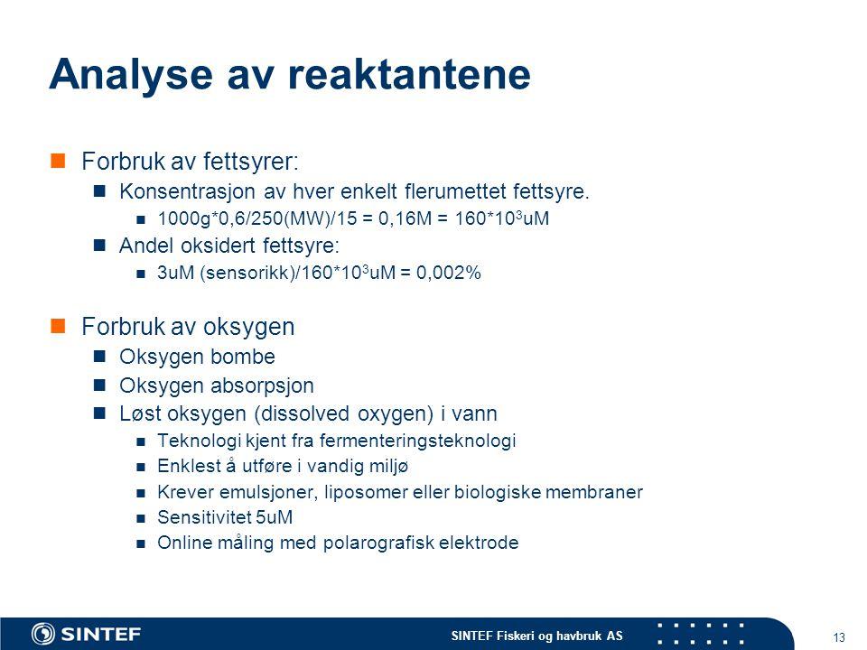 SINTEF Fiskeri og havbruk AS 13 Analyse av reaktantene Forbruk av fettsyrer: Konsentrasjon av hver enkelt flerumettet fettsyre.