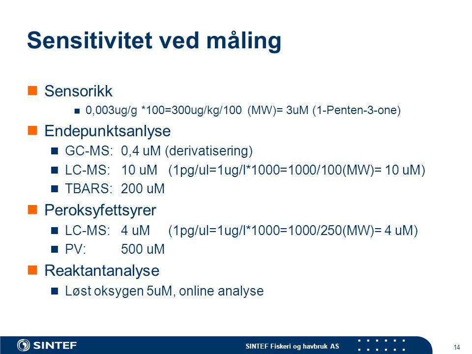 SINTEF Fiskeri og havbruk AS 14 Sensitivitet ved måling Sensorikk 0,003ug/g *100=300ug/kg/100 (MW)= 3uM (1-Penten-3-one) Endepunktsanlyse GC-MS:0,4 uM (derivatisering) LC-MS:10 uM(1pg/ul=1ug/l*1000=1000/100(MW)= 10 uM) TBARS: 200 uM Peroksyfettsyrer LC-MS: 4 uM (1pg/ul=1ug/l*1000=1000/250(MW)= 4 uM) PV: 500 uM Reaktantanalyse Løst oksygen 5uM, online analyse