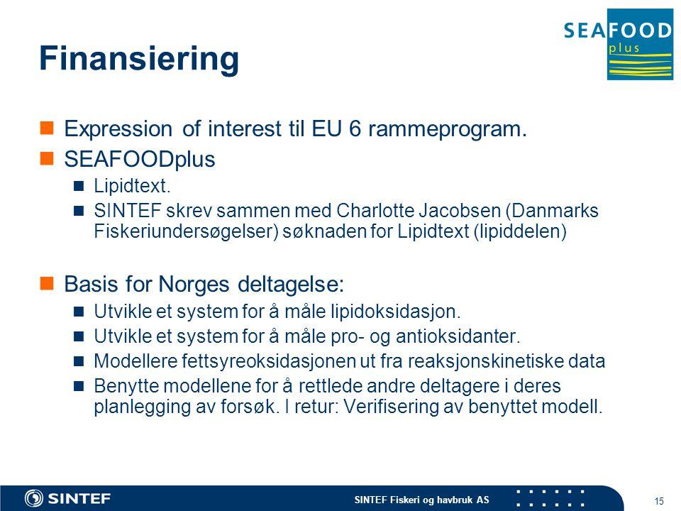 SINTEF Fiskeri og havbruk AS 15 Finansiering Expression of interest til EU 6 rammeprogram.