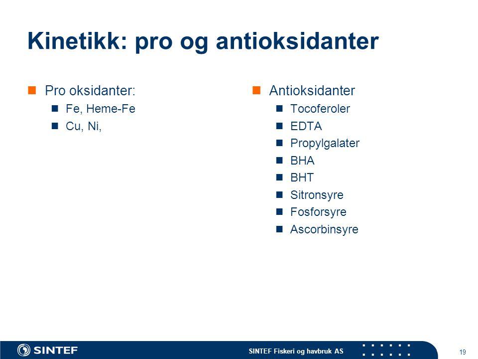 SINTEF Fiskeri og havbruk AS 19 Kinetikk: pro og antioksidanter Pro oksidanter: Fe, Heme-Fe Cu, Ni, Antioksidanter Tocoferoler EDTA Propylgalater BHA BHT Sitronsyre Fosforsyre Ascorbinsyre