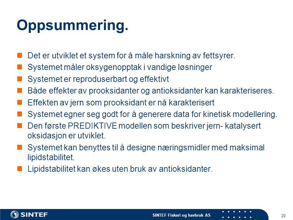 SINTEF Fiskeri og havbruk AS 20 Oppsummering.