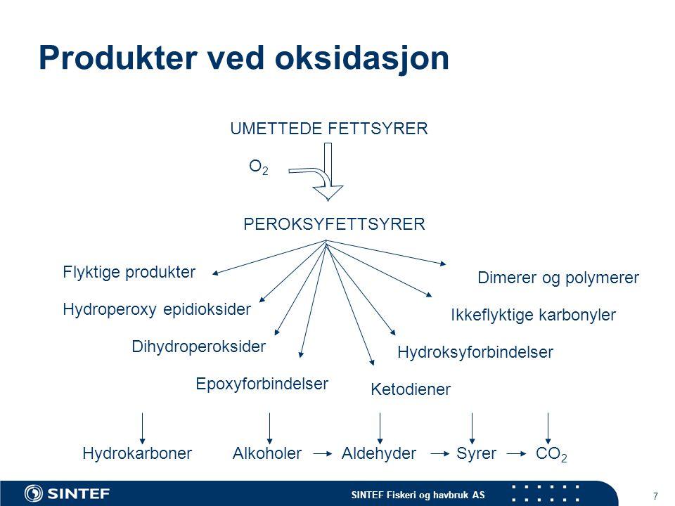 SINTEF Fiskeri og havbruk AS 7 Produkter ved oksidasjon UMETTEDE FETTSYRER PEROKSYFETTSYRER Flyktige produkter Hydroperoxy epidioksider Dihydroperoksider Epoxyforbindelser Ketodiener Hydroksyforbindelser Ikkeflyktige karbonyler Dimerer og polymerer HydrokarbonerAlkoholerAldehyderSyrerCO 2 O2O2