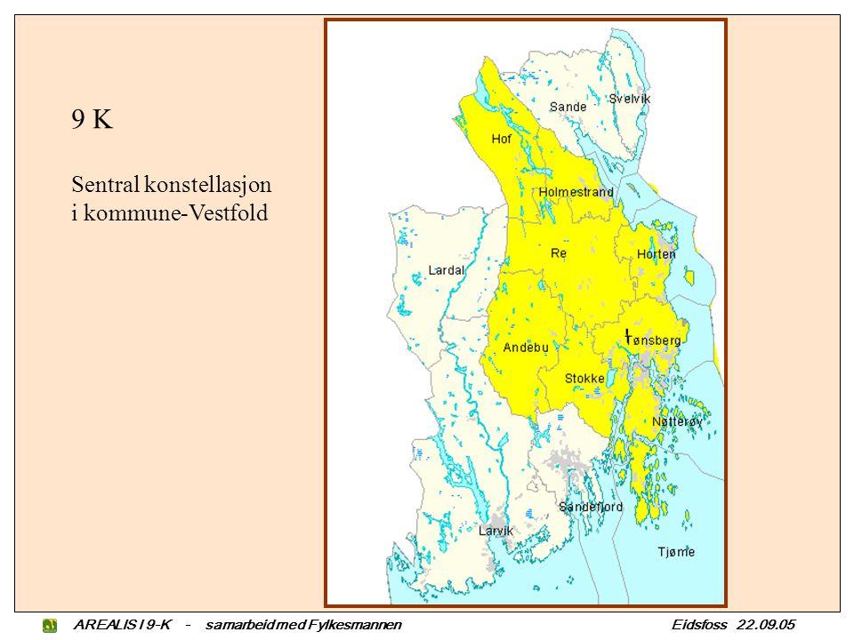 AREALIS I 9-K - samarbeid med Fylkesmannen Eidsfoss 22.09.05 9 K Sentral konstellasjon i kommune-Vestfold
