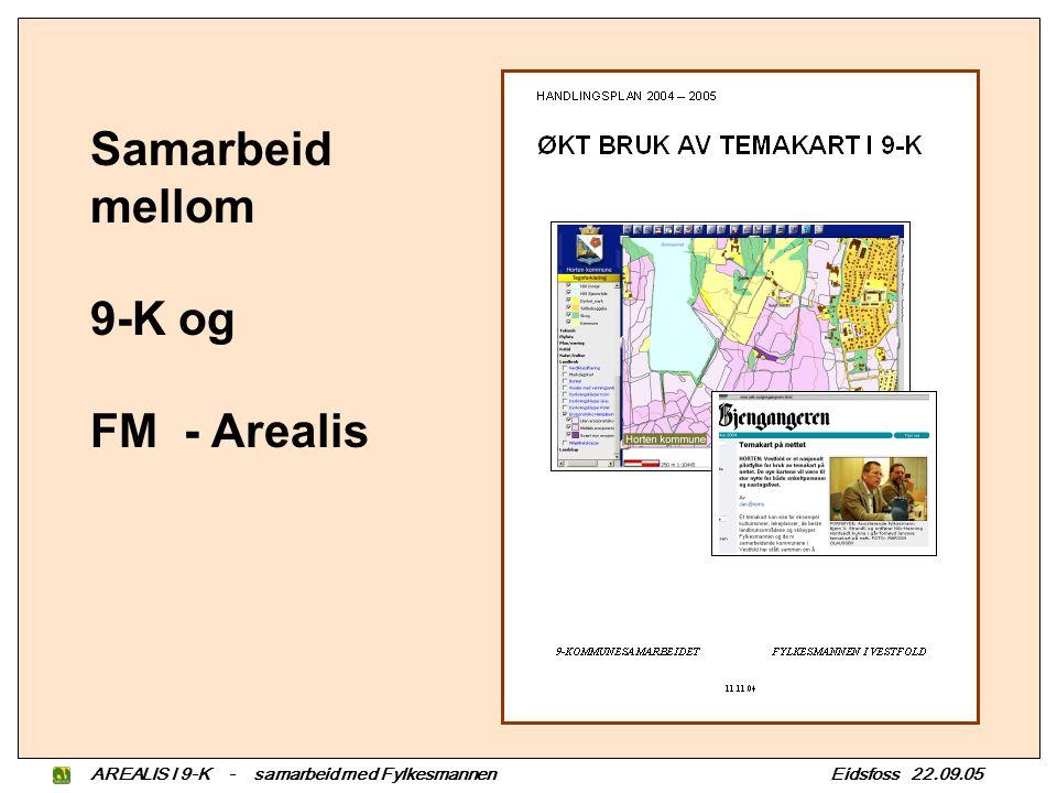 AREALIS I 9-K - samarbeid med Fylkesmannen Eidsfoss 22.09.05 Samarbeid mellom 9-K og FM - Arealis